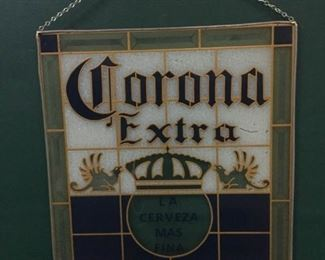 sign cerveza corona extra stained glass