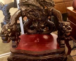 Out standing carved dragon arm chair