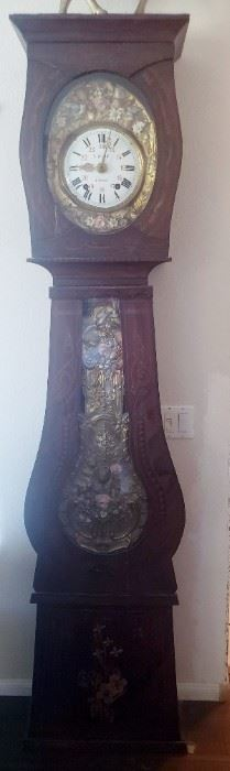 European tall case clock with fancy face plate by Le Page