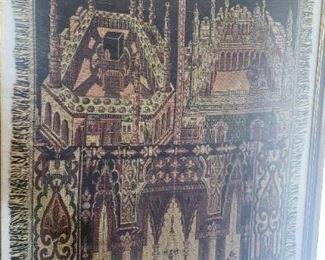 framed antique wool rug