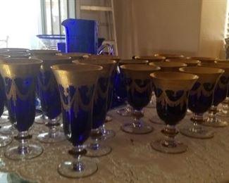 Christalleria Medici pattern Blue gold stem ware for 24