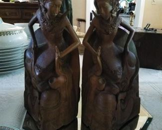 Pair  of Balinize wood carved dancers