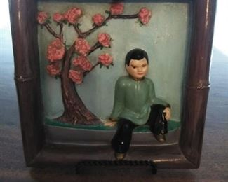 Vintage small bamboo framed  china boy and cherry blossoms.