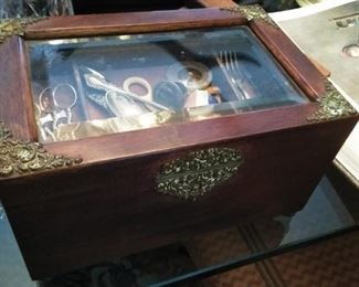 Antique wood box  with bevelled glass and decorate hinges