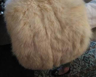 Vintage rabbit fur hand warmer