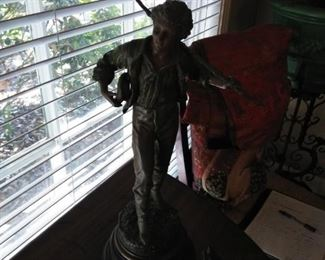Pair of bronze male  and female statues