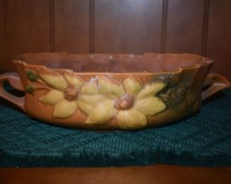 Beautiful Roseville Pottery Console Bowl - Clematis - 458-0, 161/2""