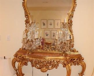 Goldleaf Console Table with Marble Top and Ornate Mirror and Brass and Crystal Candelabras