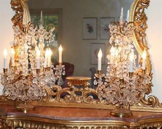 Brass and Crystal Candelabras