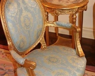 Pair of Bergere Chairs and Ornate Occasional Table