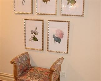 Upholstered Bench and Floral Prints
