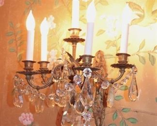 Pair of Crystal Wall Sconces