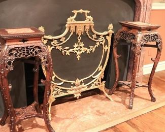 Pair of Carved Wood Pedestals and Fireplace Screen
