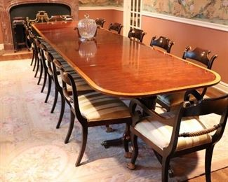 Traditional Dining Room Table with 12 Chairs