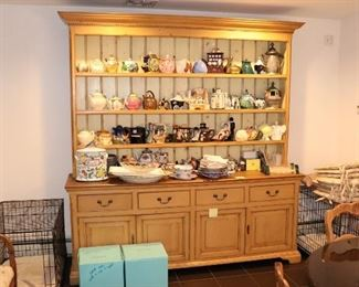 Scottish Pine Hutch with Tea Pot Collection, and 2 Dog Crates