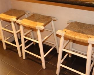 3 Counter Height Stools with Caned Seats