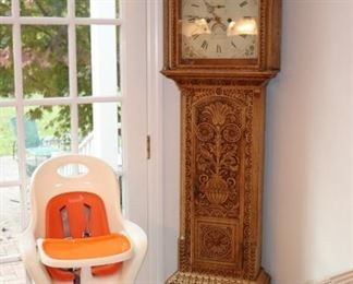 Beautifully Carved Grandfather Clock and High Chair