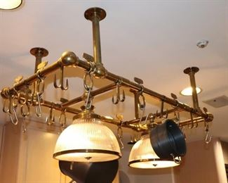 Kitchen Pot Hanger and Pair of Ceiling Fixtures
