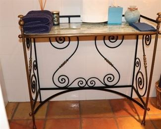 Antique French Wrought Iron Table Base and Granite Top