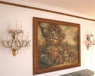 Fine Art and Pair of Wall Sconces