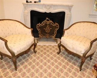 Pair of Upholstered Chairs and Fireplace Screen