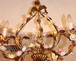 Chandelier with Floral Accents