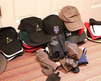 Variety of Baseball Caps and Gloves