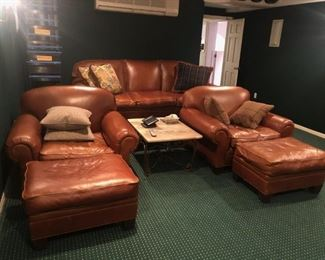 Ralph Lauren Leather 3 Seat Sofa and 3 Matching Club Chairs and Ottamons for your own Home/Theatre