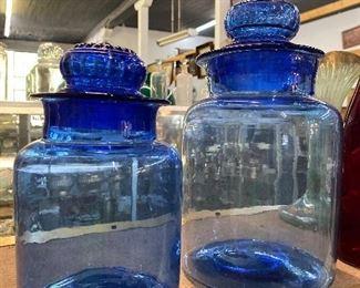 Cobalt apothecary jars