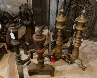Large selection of antique andirons