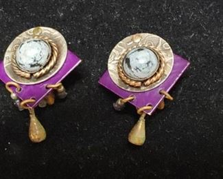 Egyptian Style fancy earrings with gemstones clip on