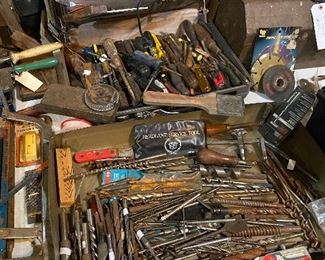 Huge selection of tools found in the trailer out back
