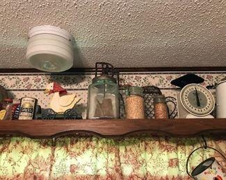 Antique Kitchenware please notice the Antique Butter Maker Glass Jar !