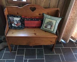 Heart Bench with under seat storage