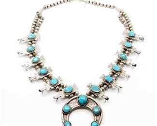 Lot 1. Navajo Squash Blossom Necklace