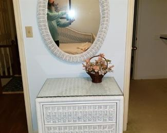 White wicker chest of drawers