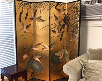 Gilded 4 panel room divider/screen