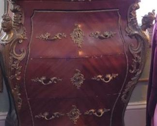 French Antique Chest, Ormulu Verde Marble top, $900