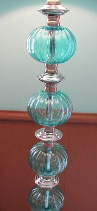 Turquoise Blue Glass Lamp