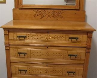 !920's Carved Wood Chest - Very Nice!