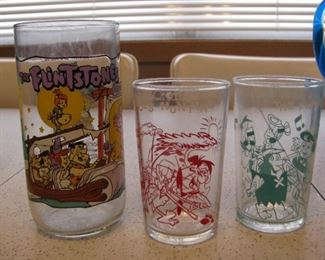 Fred Flintstone Vintage Collectible Glasses