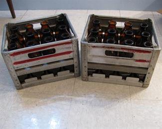 Old DeCoursey's  Milk Bottles & Metal Crates