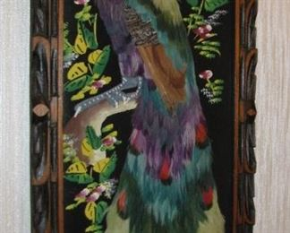 Vintage Peacock Art Hanging made with Feathers