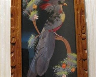 Beautiful Vintage Bird made with Feathers