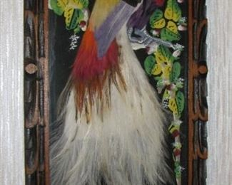 Vintage White Tail Bird made with Feathers