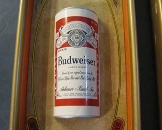 Vintage Framed Budweiser cans