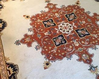Pakistani Persian room size knotted rug-9x12--wood on wool weft--Herez patterns--very nice
