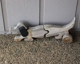 pull wood dog toy