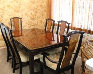 Inlaid wood table with 6 chairs