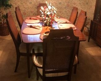 midcentury dining table with 6 chairs